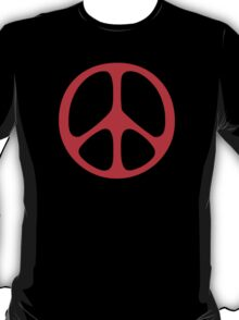 Red 60s Peace Sign Symbol T-Shirt