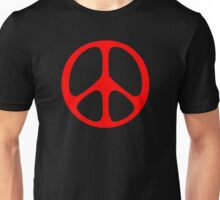 Red 60s Peace Sign Symbol Unisex T-Shirt