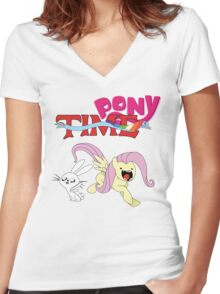 My Little Pony Adventure Time - Angel Bunny & Fluttershy Women's Fitted V-Neck T-Shirt