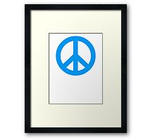 Blue Peace Sign Symbol Framed Print