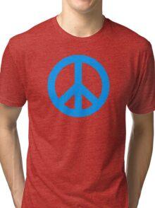Blue Peace Sign Symbol Tri-blend T-Shirt