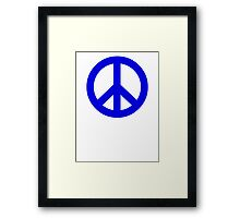Dark Blue Peace Sign Symbol Framed Print