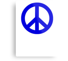 Dark Blue Peace Sign Symbol Metal Print