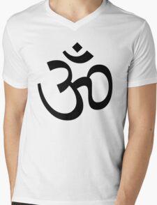 Indian Hindu Aum Om Symbol Mens V-Neck T-Shirt