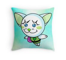Kitty Pow Pow: SkyGreen Pow! Pow! Throw Pillow