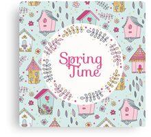 Cute Bird House Spring Time Canvas Print