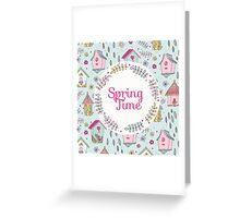 Cute Bird House Spring Time Greeting Card