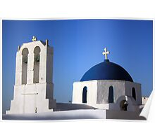 Chapels in Blue & White Poster