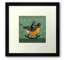 Cats on a Rocking Robin Framed Print