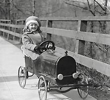 Little Girl Driving Pedal Car, 1922 by historyphoto