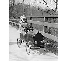 Little Girl Driving Pedal Car, 1922 Photographic Print