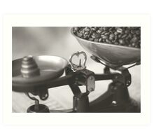 Weighing up Coffee Art Print