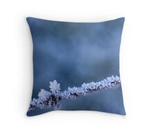 Hoar frost on barbed wire Throw Pillow