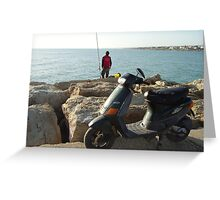 Fishing boy with old moped Greeting Card