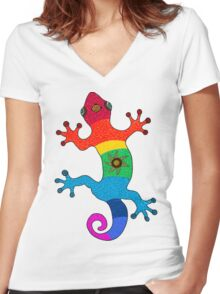 Rainbow salamander Women's Fitted V-Neck T-Shirt