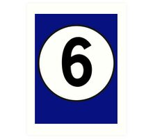 6, Sixth, Number Six, Number 6, Racing, Six, Competition, on Navy Blue Art Print