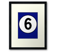6, Sixth, Number Six, Number 6, Racing, Six, Competition, on Navy Blue Framed Print