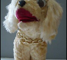 Funny Vintage Stuffed Toy Dog with Gold Chain by Tails of the Past