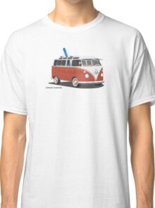 23 Window Split VW Bus Red with Surfboard Peace Classic T-Shirt