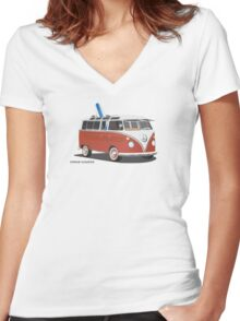 23 Window Split VW Bus Red with Surfboard Peace Women's Fitted V-Neck T-Shirt