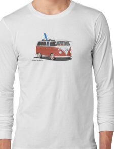 23 Window Split VW Bus Red with Surfboard Peace Long Sleeve T-Shirt