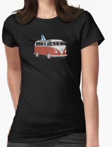 23 Window Split VW Bus Red with Surfboard Peace Womens Fitted T-Shirt
