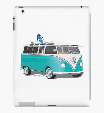 Split VW Bus Teal with Surfboard Hippie Van iPad Case/Skin