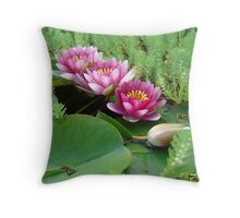 Waterlilies and Parrot Feather Throw Pillow