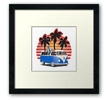 Hippie VW Split Window Bus w Surfboard & Palmes Framed Print