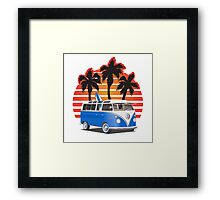 Hippie VW Split Window Bus w Surfboard & Palmes Framed Print