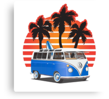 Hippie VW Split Window Bus w Surfboard & Palmes Canvas Print