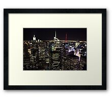 Night Time View of New York City Framed Print