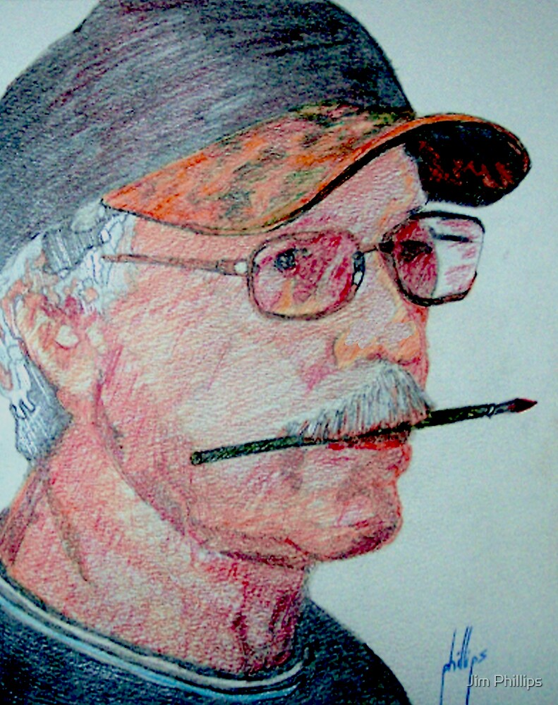Self Portrait in Colored Pencil by Jim Phillips