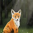 Little Fox in the Dandelions by Lee Anne Kortus