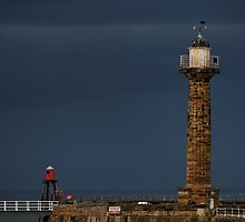 Pier Lighthouse and Beacon, Whitby by Rod Johnson