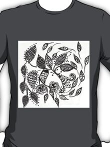 Flowers & Leaves Ornament Drawing T-Shirt