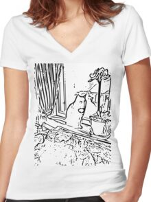 Cute cat 2 Women's Fitted V-Neck T-Shirt