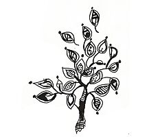 Tree With Leaves Drawing Photographic Print