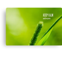 Green Grass And Sun - Keep calm and live green Canvas Print
