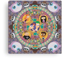 Phineas and Ferb Mandala Canvas Print