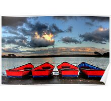 4 Rowing Boats Poster