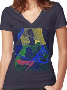 Pink Heels and a Bust Women's Fitted V-Neck T-Shirt