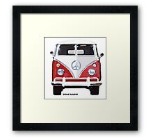 Splitty VW Bus Front Red Framed Print
