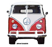 Splitty VW Bus Front Red Photographic Print