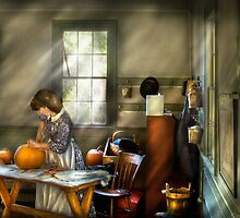 Carving a pumpkin by Mike  Savad