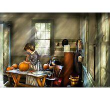Carving a pumpkin Photographic Print