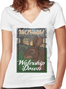 Visit Beautiful Watership Down Women's Fitted V-Neck T-Shirt