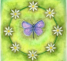Green Daisy Butterfly by Jacquiderose