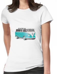 Split VW Bus Teal Womens Fitted T-Shirt