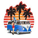 Hippie Split Window VW Bus Blue Palmes Girl by Frank Schuster